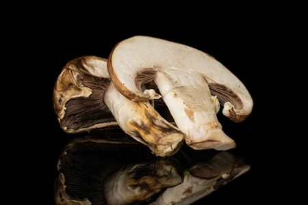 Group of one half one slice of fresh brown mushroom champignon isolated on black glass Stok Fotoğraf