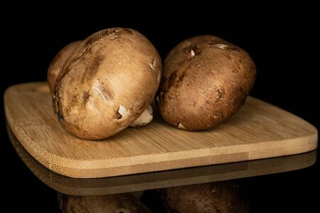 Group of three whole fresh brown mushroom champignon on bamboo cutting board isolated on black glass Stok Fotoğraf