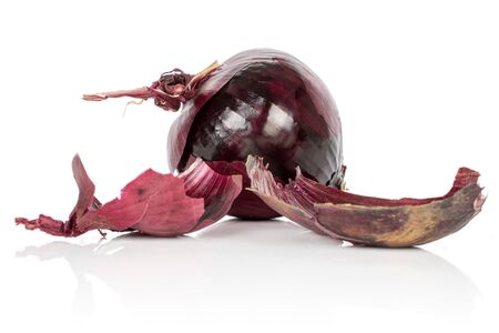 Group of one whole two pieces of tasty onion red isolated on white background Imagens