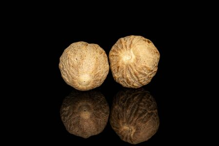 Group of two whole dry brown nutmeg isolated on black glass