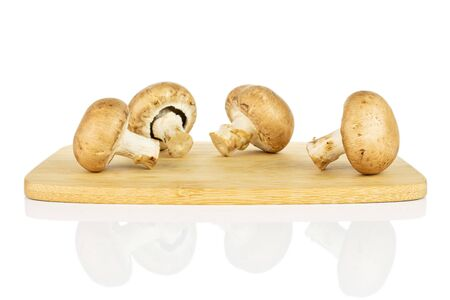 Group of four whole fresh brown champignon on bamboo cutting board isolated on white background