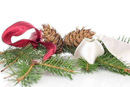 Lot of whole christmas green branch spruce with red ribbon and white ribbon isolated on white background