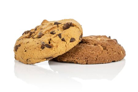 Group of two whole sweet brown cookie isolated on white background