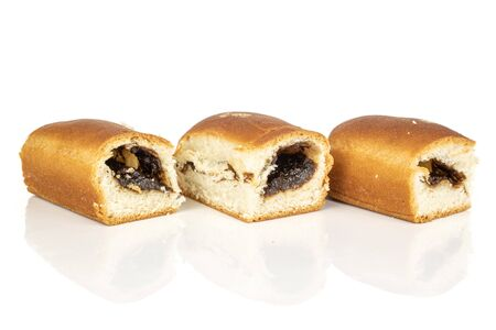 Group of three whole sweet czech bun isolated on white background
