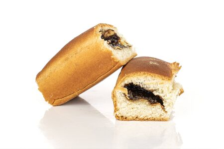 Group of two whole sweet czech bun isolated on white background