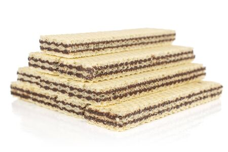 Group of ten whole sweet chocolate biscuit wafer isolated on white background