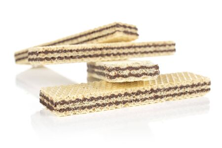 Group of four whole sweet chocolate biscuit wafer isolated on white background