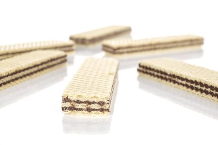 Group of six whole crispy sweet chocolate biscuit wafer isolated on white background Stock fotó