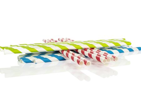 Lot of whole arranged paper straw isolated on white background