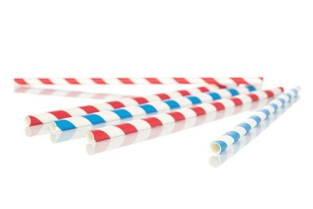 Group of five whole paper straw isolated on white background