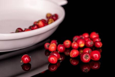 Lot of whole wild red rowanberry in small white ceramic bowl isolated on black glass