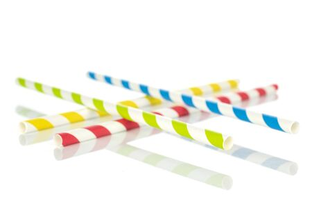 Group of four whole paper straw isolated on white background Stock Photo