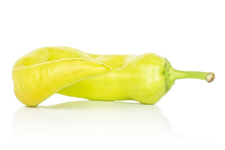 One whole hot green pepper banana isolated on white background