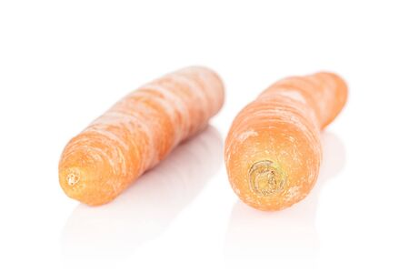 Group of two whole arranged fresh orange carrot isolated on white background Stock Photo