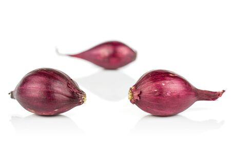 Group of three whole small red onion bulb isolated on white background Reklamní fotografie