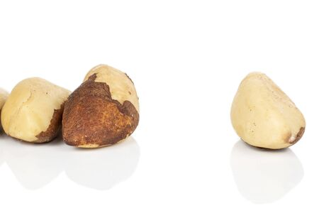 Group of three whole brazil brown nut isolated on white background Reklamní fotografie - 136233766