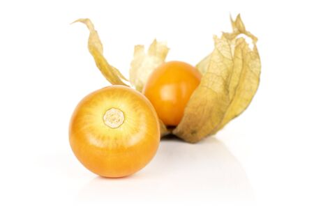 Group of two whole fresh orange physalis isolated on white background Reklamní fotografie - 136233768