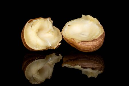 Group of two halves of tasty brown hazelnut isolated on black glass