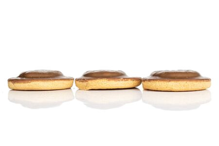 Group of three whole chocolate biscuit isolated on white background Banque d'images