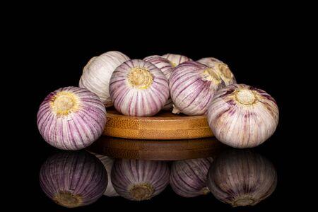 Lot of whole fresh purple single clove garlic on bamboo coaster isolated on black glass