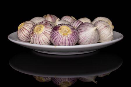 Lot of whole fresh purple single clove garlic on white ceramic plate isolated on black glass