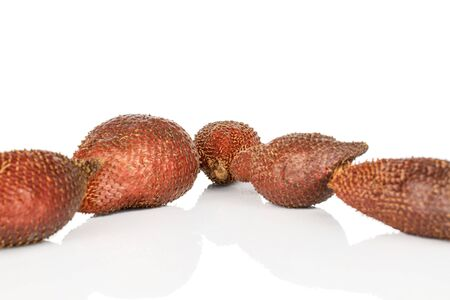 Group of five whole exotic brown salak isolated on white background Stok Fotoğraf