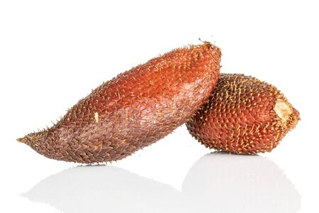 Group of two whole exotic brown salak isolated on white background