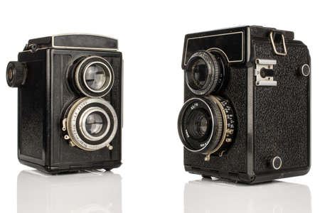 Group of two whole vintage camera two lens isolated on white background