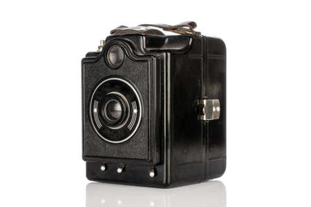 One whole vintage camera box isolated on white background
