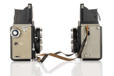 Group of two whole vintage camera isolated on white background