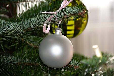 Christmas decoration glass hanging balls on a branch 版權商用圖片