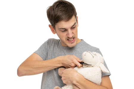 Young handsome tall slim white man with brown hair threatens a plush sheep in gray shirt isolated on white background