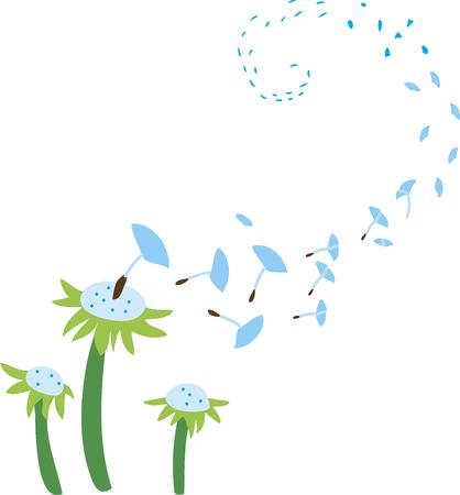 spores: dandelion spores Illustration