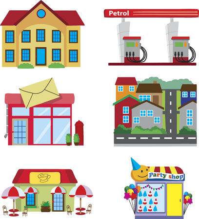 office party: Town buildings, coffee shop, gas station, post office, party store