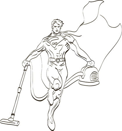 carpet cleaning service design: Happy Male Janitor Cleaning Carpet With Vacuum Cleaner, line, vector illustration