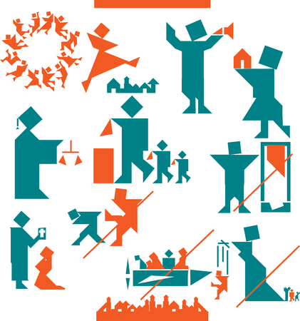 convention: human body action poses. Set of icons to the European Convention on Human Rights Stock Photo