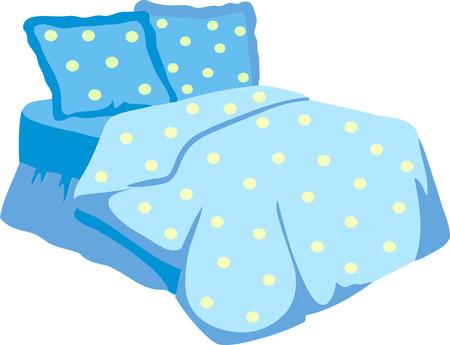 Bed Met Blauwe Deken en pillow.Vector Illustratie van een cartoon dubbel groot bed voor koppels