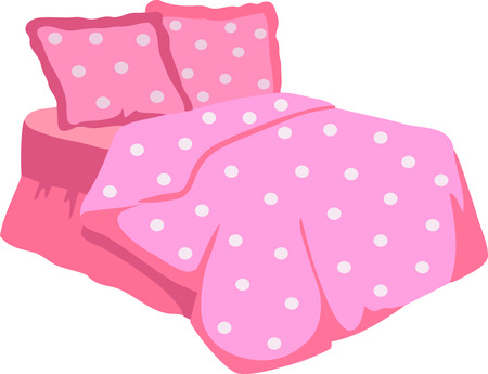 Bed With Pink Blanket and pillow. Vector Illustration of a cartoon double big bed for couples