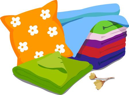 Kolor pościel. Poduszki, pościel, koce. Ilustracji wektorowych z kreskówki na białym tle Ilustracje wektorowe