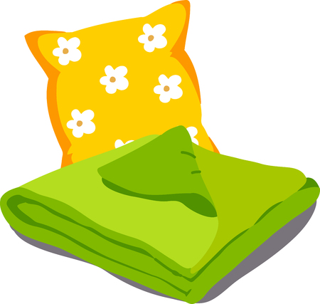 blankets: Color bed linen. Pillows, sheets, blankets. Vector Illustration of a cartoon isolated on white background