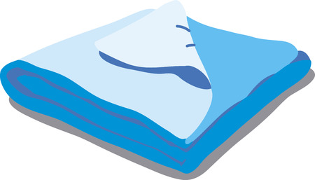 bedspread: Blue bed linen. Vector Illustration of a cartoon Linen icon isolated on white background