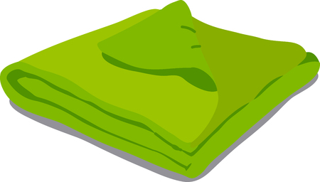 convolute: web icon green towels. Vector Illustration of a cartoon Linen icon isolated on white background