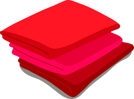 towels: red towels. Vector Illustration of a cartoon Linen icon isolated on white background