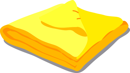 towels: web icon yelow towels. Vector Illustration of a cartoon Linen icon isolated on white background