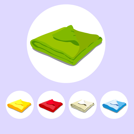 bedcover: Color icons stacked towels. Vector Illustration of a cartoon Linen icon isolated on white background Illustration