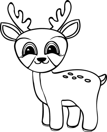 baby deer coloring pages Funny Cartoon Baby Deer. Coloring Pages. Vector Black And White  baby deer coloring pages