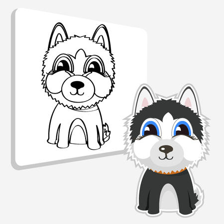 Siberian husky. Vector illustration and coloring page Illustration