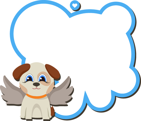 illustraion: Angel dog with board and a wish. valentine message. Cartoon style isolated on white background for your design. Childrens theme