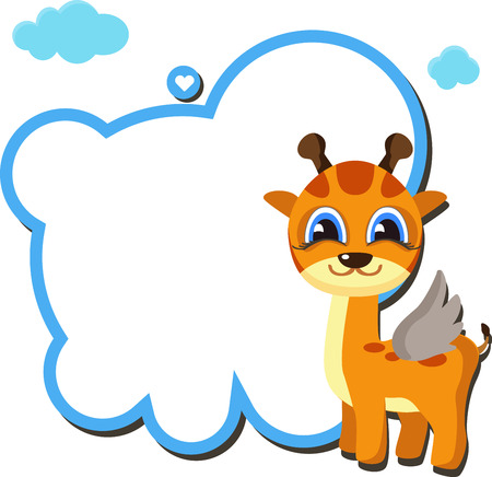 Angel Giraffa. cartoon with space for your message. vector illustration Illustration