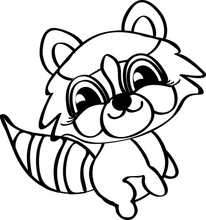 humorous: Charming humorous raccoon. Meditative exercises. Black and white. Line icon profile view. Illustration